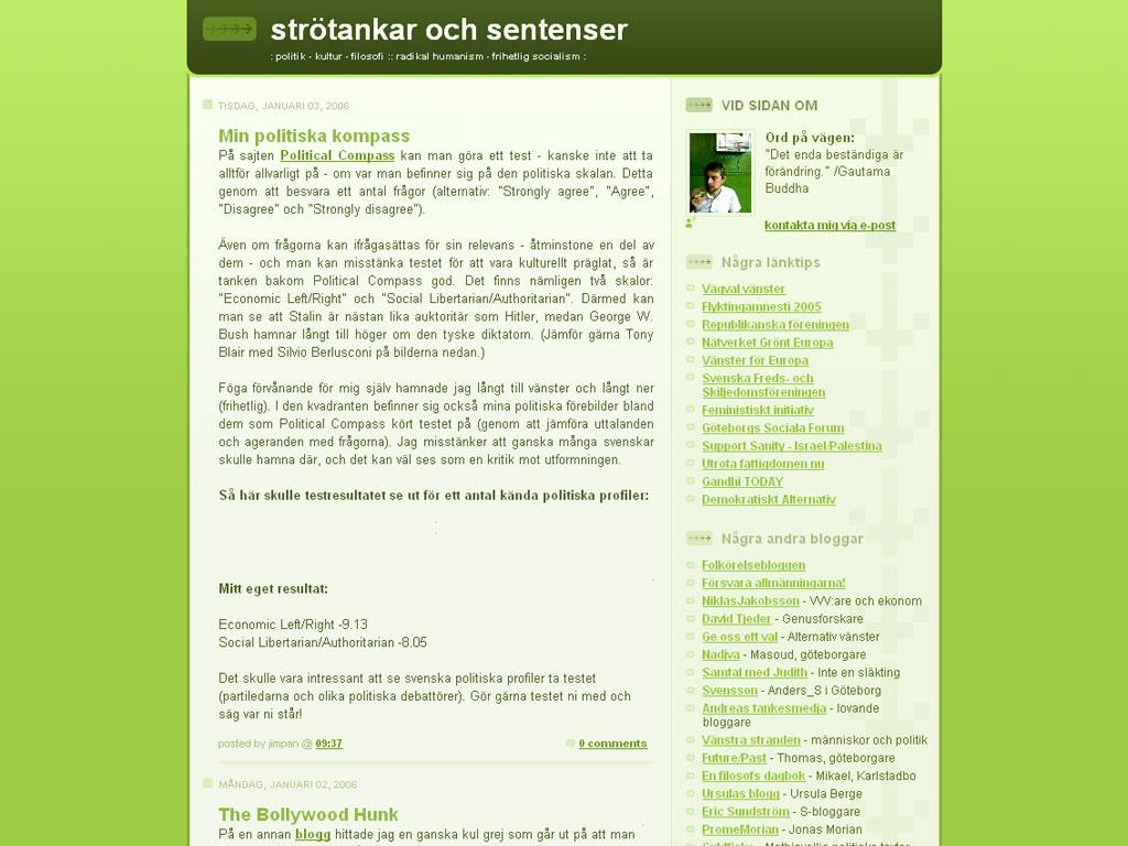 År 2006 låg strötankar och sentenser på Blogger.